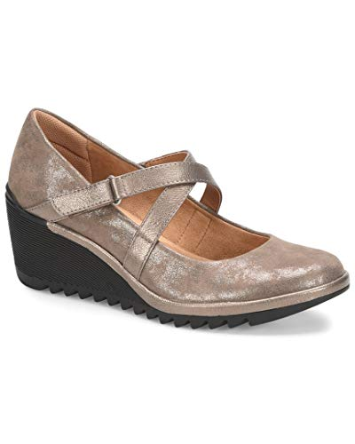 Comfortiva Women's Alice Smoke/Taupe Metallic Distressed Foil Suede/Bruce Metal 8 M - Leather Distressed Pumps