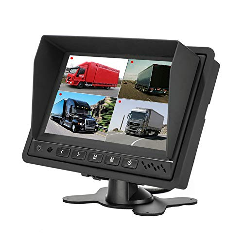 7 inch Car Truck Quad Split Monitor Built-in DVR Video Recording 4 Channels Quad Display Front/Left/Right/Back Camera AV Input