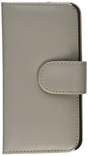 iCues Apple iPhone SE / 5S / 5    Wallet Tasche Hellgrau   [Display Schutzfolie Inklusive] Leder - Imitat Book Klapphülle Schutz Etui Handytasche zum aufklappen Flip Case Schutzhülle Booklet Hülle Wal