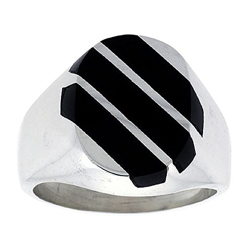 Diagonal Stripes Ring (Sterling Silver Black Obsidian Ring for Men Large Oval 3 Stripe Diagonal Solid Back Handmade, size 9)