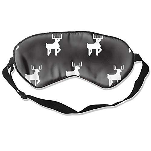 Deer Black and White Kid Silhouette Pattern Sleep Eye Mask for Sleeping Contoured Eyemask Sleep for Travel & Night Sleep