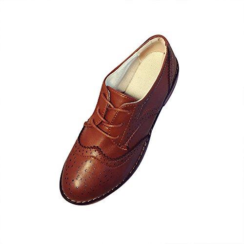 Tefamore Zapatos Planos de Mujer Botines Mocasines de Retro Cabeza Redonda Otoño Invierno Marrón