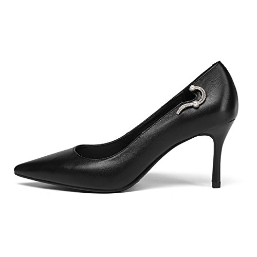 Beige Peu Noir Bureau Talons Glisser Chaussures Profondes Cuir Les Hauts Stiletto Pompes Noir à Mariage De Chaussures En Pointu Sur Chaussures noir zaE4aRq