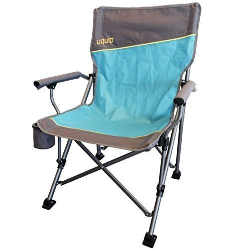 LUXUS Komfort Faltstuhl mit Getränkehalter + Flaschenöffner am Stuhl   Stabile Ausführung bis 120kg   Extra breite Füße für weichen Boden   Breite Sitzfläche 51cm   Rückenlehne 92cm   Uquip Roxy 244002