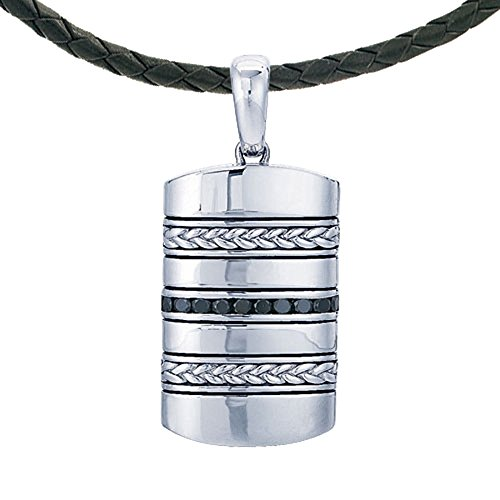 IBG Sterling Silver .045ct tw Genuine Black Diamond Dog Tag Pendant with Braided Black Leather Cord by IBG