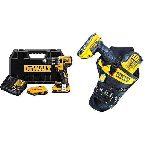 "DEWALT DCD791D2 20V MAX XR Li-Ion 0.5"" 2.0Ah Brushless Compact Drill/Driver Kit with DG5120 Heavy-duty Drill Holster"