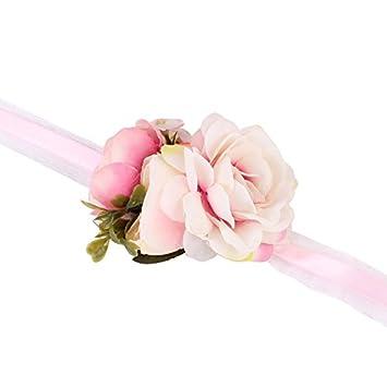 gnrjgs da sposa, damigella d' onore exquisite floreale cinturino a forma di fiore WRIST Corsage party Prom Hand Flower Decor, Panno, Purple, 01