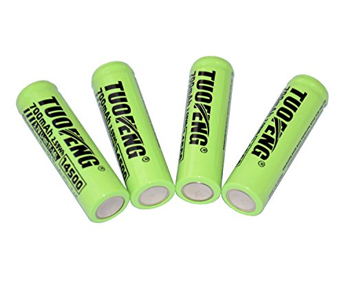 TUOFENG 4x14500 Battery 3.7 Volt Rechargeable Battery Real 700mAh Lithium-ion Battery