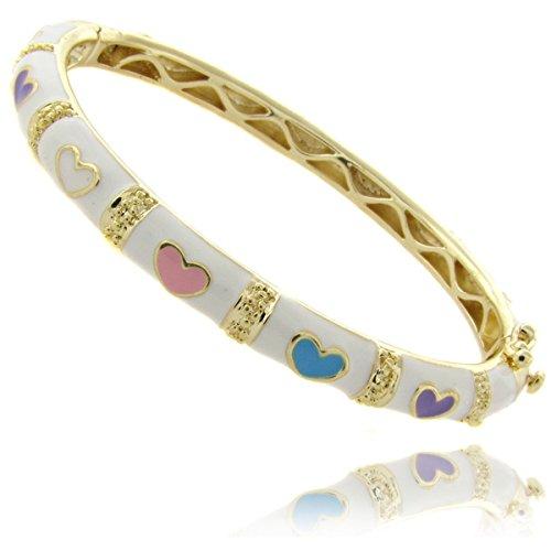 Bangle Bracelet for Girls Children's Jewelry Pink Hearts Love 14k Gold Overlay (White)