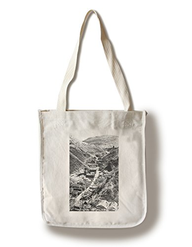 Bingham Canyon, Utah - Aerial View of a Town (100% Cotton Tote Bag - Reusable, Gussets, Made in America) (Aerial America Utah compare prices)