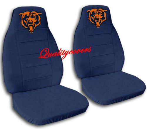 2 Navy Blue Chicago seat covers for a 2007 to 2012 Chevrolet Silverado. Side airbag friendly. by Designcovers (Image #1)