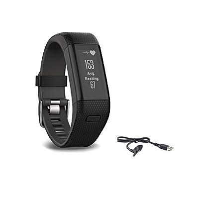 Garmin Vivosmart HR Plus Activity Tracker, Regular Fit, Black, Bundle with Extra Garmin Original Charger