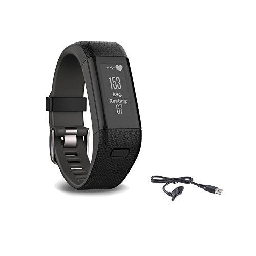 (Garmin Vivosmart HR Plus Activity Tracker, Regular Fit, Black, Bundle with Extra Garmin Original Charger)