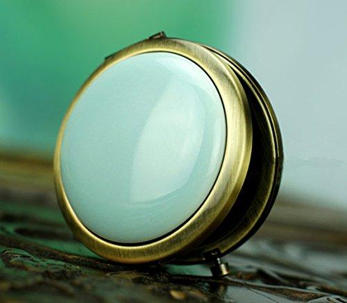 Top Grade Classy Pure Color Decorative Porcelain Brass Compact Mirror Celadon -