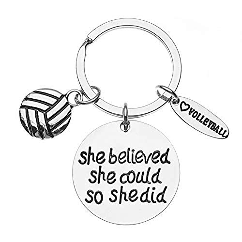 Infinity Collection Volleyball She Believed She Could So She Did Keychain, Girls Volleyball Jewelry, Perfect Volleyball Gifts for Volleyball Players -