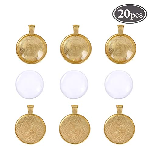 - 20Pcs Pendant Trays with Round Bezel Setting Glass Cabochon Dome 25mm / 1 Inch Diameter(Gold)
