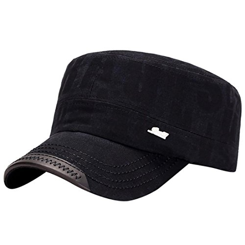 Vertily Hat Men Adjustable Flat Top Solid Brim Army Cadet Style Military Hat (Black)