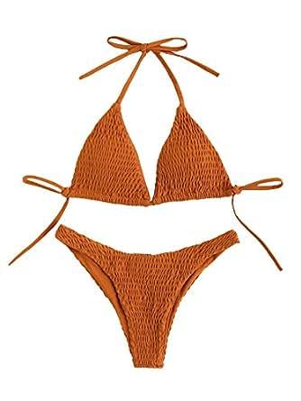 SweatyRocks Women's Sexy Bathing Suit Solid Color High Neck Tie Back Shirred Bikini Swimsuit Brown S