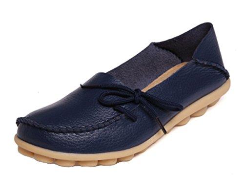 Anbover Dames Plus Size Loopschoenen Casual Lederen Platte Instappers Comfortabele Rubberen Zool Slip Op Schoenen Comfortabele Rubberen Zool Slip Op Schoenen Marine