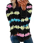 BLENCOT Women Sweatshirts and Hoodies Long Sleeve Drawstring Sweatshirts Color Block Striped Pull...