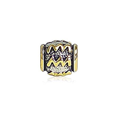 UPC 640626668699, Bling Jewelry Gold Plated 925 Sterling Silver Aquarius Zodiac Bead Fits Pandora