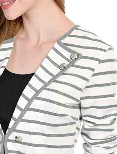 Giovane Leggero Slim Moda Eleganti Donna Giacca Giaccone Lunga Bianca Casual Autunno Primaverile Stripe Manica Outerwear Fit Classiche Cardigan Cappotto gxZntqXn