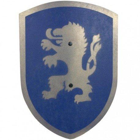 Vah - Bouclier de Chevalier en bois Déguisement Enfants Lion bleu 37 cm poignée cuir