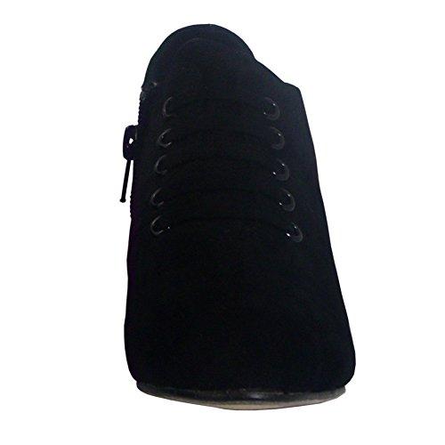 Ragazze Vestono Scarpe Stivaletti Stringate Basse Alla Caviglia Con Cerniera Chiusa Nera
