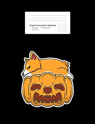 Graph Composition Notebook: Sleeping Corgi Pumpkin Cute Dog Lover Gift - Black Math, Physics, Science Exercise Book - Back To School Gift For Students, Kids, Teens, Boys, Girls - 7.5