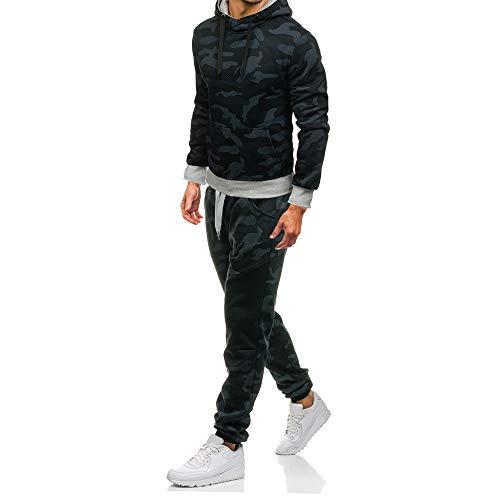 iLXHD 2018 Men's Camouflage Sweatshirt Pants Sets Sports Suit Tracksuit Hoodies(Black,US XL/CN 2XL)