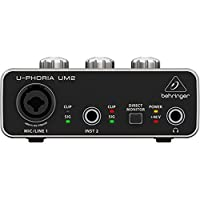 "Interfaz de audio BEHRINGER 1x XLR /TRS 1x 1/4 ""2X RCA USB, negro 1-canal UM2"