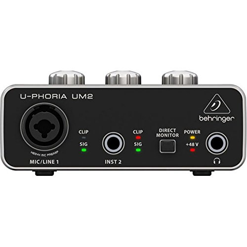 "BEHRINGER Audio Interface, 1x XLR/TRS 1x 1/4"" 2X RCA USB, Black, 1-Channel (UM2)"
