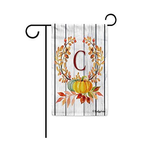 Kafepross Tree Leaves Wreath Fall Monogram C Decorative Garden Flag Harvest Pumpkin Autumn Initial Letter Decor Banner for Outside 12.5