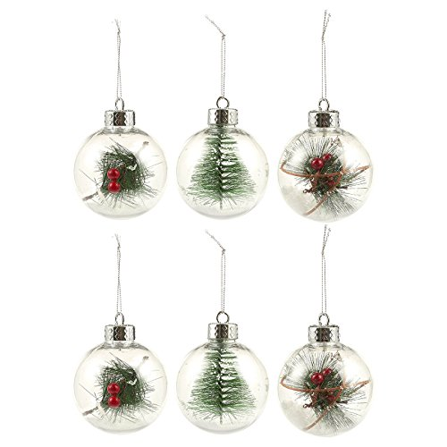Juvale 6-Pack of Christmas Tree Decorations - Small Christmas Hanging Ornaments, Decorative Filled Festive Embellishments, 3.1 x 5.25 x 3.1 Inches, Clear