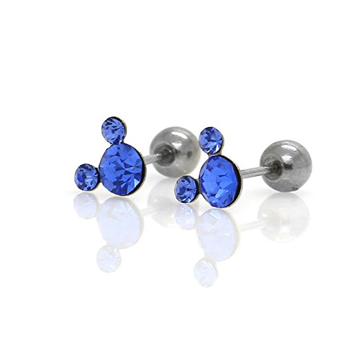 Michey mouse Earrings 4mm Crystal Screw back ball Surgical steel (Blue)