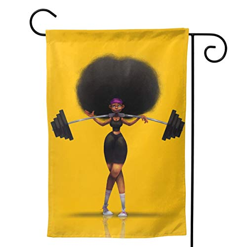 Afro Hair Girl African Woman Yellow Eccentric Big Large Jumbo for Party Themed Welcome Outdoor Outside Decorations Ornament Picks Garden Yard Decor Double Sided 28 X 40 Flag
