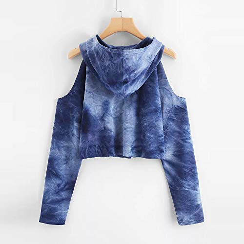 Strapless Sweatshirt Blouse Long Sleeve Tops Morwind Pullover Blue Women's Hoodie Printed x7qwnEIX