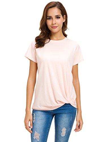 LUSMAY Womens Short Sleeve Loose Twist Knot Front T Shirts Cotton Casual Blouse Pink
