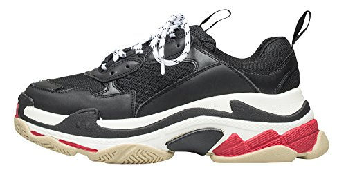 Annakastle Vrouwen Kleuraccent Laag Top High-fashion Sneaker Trainers Zwart