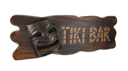 Tropical Tiki Wood (Hand Carved Wooden Tiki Bar Sign Island Patio)