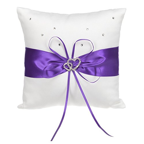 Hosaire Purple Ring Pillow Bow Diamond Double Heart Shaped Wedding Decoration