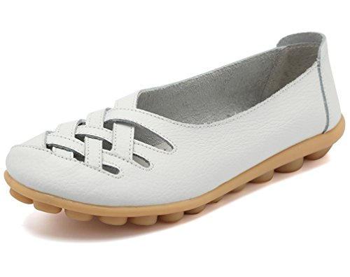 KEESKY Womens Ladies Leather Casual Cut Out Loafers Flat Slip-on Shoes White Size 7