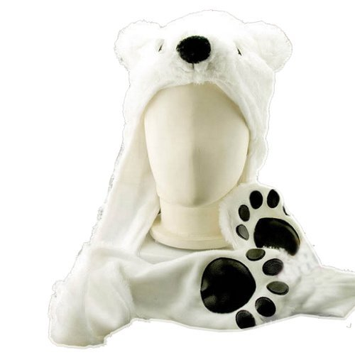 Costume Polar Bear Plush Hat with Mittens Paw Prints by HatButik ()