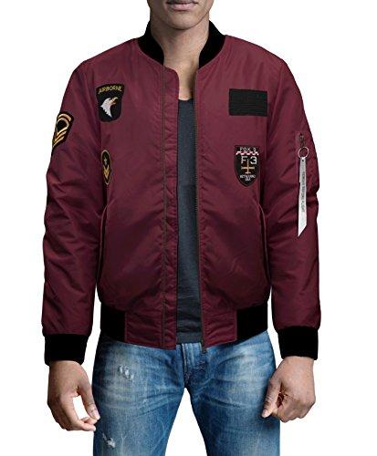 FRIED DENIM Men's Premium Multi Style Bomber Jacket AJK45756 Burgundy (Light Flight Leather)
