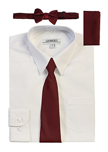 Gioberti Boy's Long Sleeve White Dress Shirt With Burgundy Zippered Tie, Bow Tie, and Handkerchief Set, Size 10