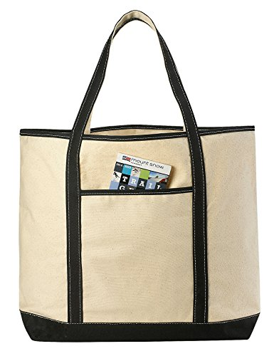 Canvas Tote Beach Bag - These Large Bags Are Strong Enough to Carry Beach Gear and Wet Towels. Front Pocket, Inside Zippered Pocket and Shoulder Straps for Easy Carrying. (Black | 22 x 16 Inches) by Handy Laundry