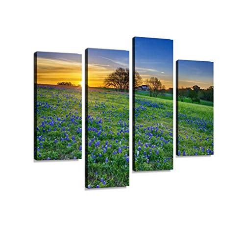 Texas Bluebonnet Field at Sunrise Canvas Wall Art Hanging Paintings Modern Artwork Abstract Picture Prints Home Decoration Gift Unique Designed Framed 4 Panel