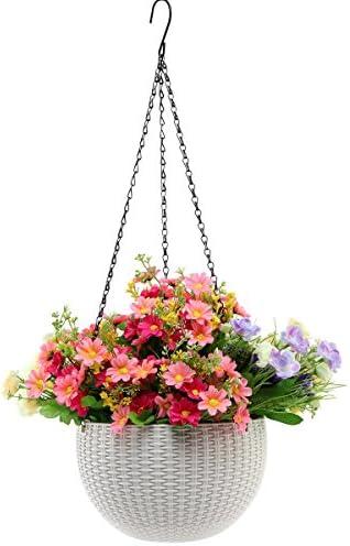 Hanging Planter -YIKUSH 8.66 in Round Decor Garden Rattan Plastic Flower Pot Basket for Plant,White