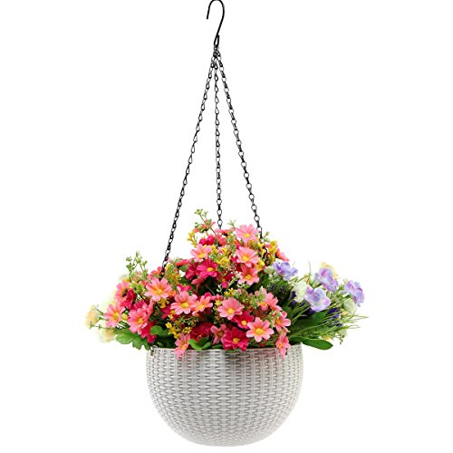 Hanging Planter -YIKUSH 8.66 In Round Decor Garden Rattan Plastic Flower Pot Basket for Plant,White by YIKUSH