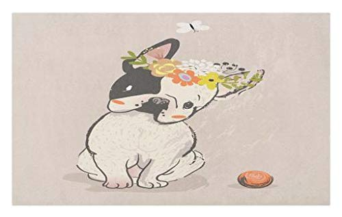 Lunarable Dog Doormat, Hand Drawn French Bulldog with Wreath on Its Head Watercolor Domestic Pet Illustration, Decorative Polyester Floor Mat with Non-Skid Backing, 30